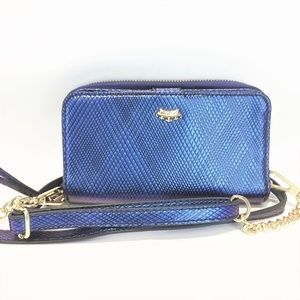 JUICY COUTURE Cross body Wallet Blue Gold Chain